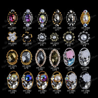 Nail Art 3D Alloy Design Gold Color Nails 2017 Alloy Jewelry Metal Nail Art Floating Charms With Box