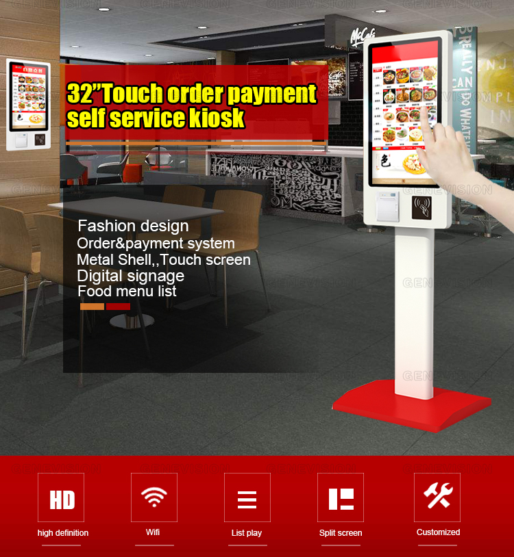 32 inch fast food ordering self service bill payment kiosk machine with thermosensitive paper print QR code scanning POS machine