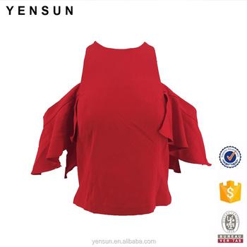 7a72144eae64a8 Women Girl Spring Summer Off Shoulder Red Top Cute Ruffles Sleeves Elegant  Blouse