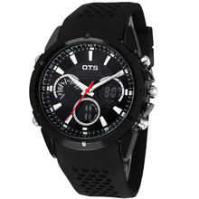OTS 8150 Fashion Black Silicone Analog Quartz Military Men Digital Watches Male Sports Auto Date LED Alarm Men's Wirstwatch