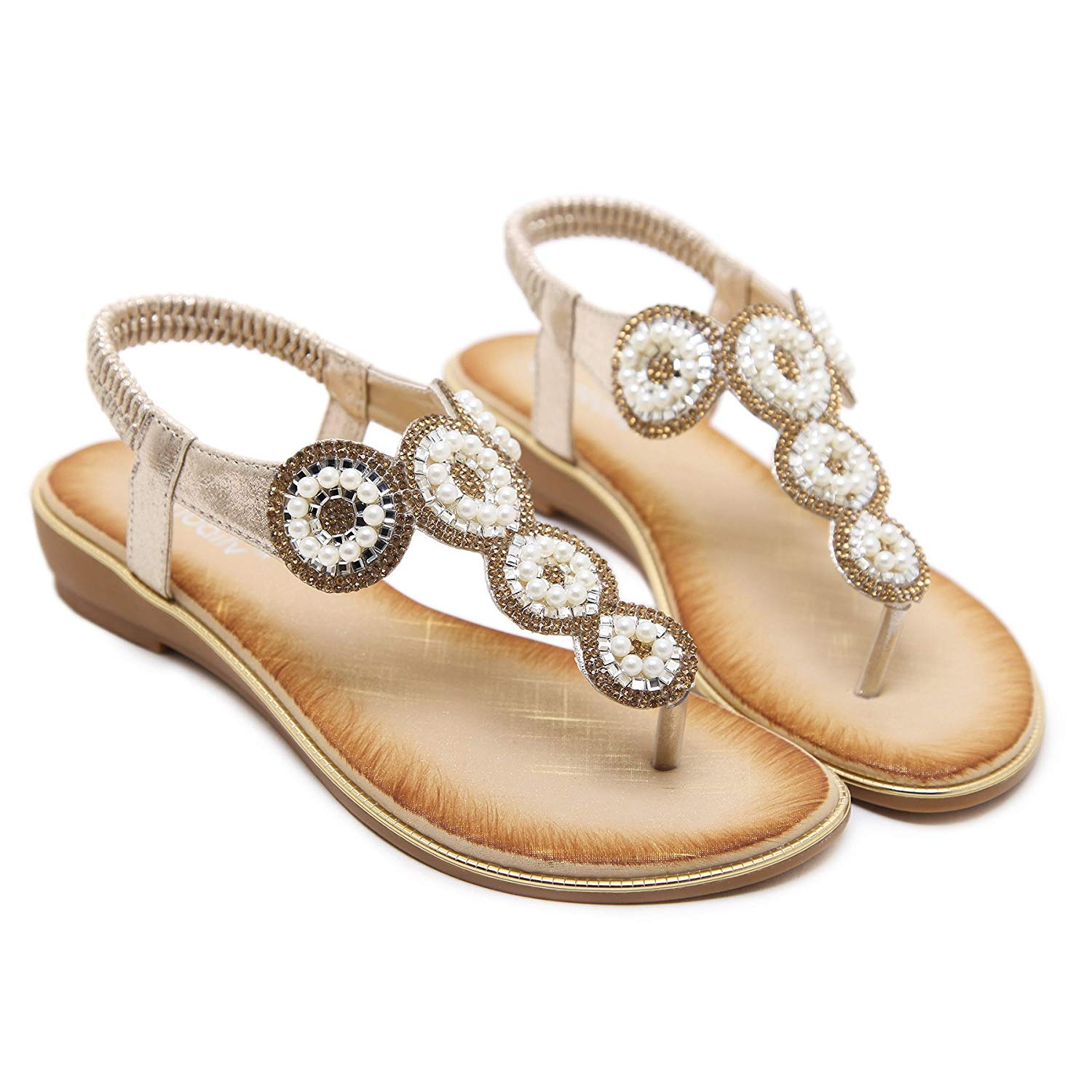 8d7f693ee7de2 Get Quotations · INNICON Women s Gladiator Sparkly Rhinestone Beaded  Wedding Flat Sandals Summer Beach Slingback Thong Shoes