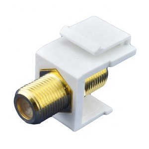 Nickel Plated F Type Female to Female Coaxial Connector Keystone Jack Insert for Wall Plate Outlet Panel