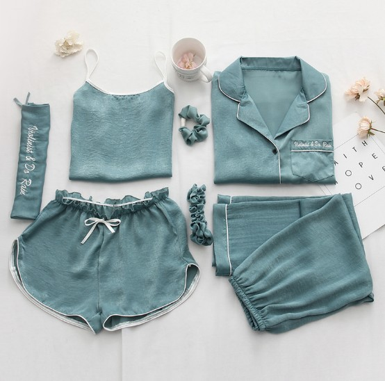 sexy women sleepwear clothes lady nightwear 7 in 1 set