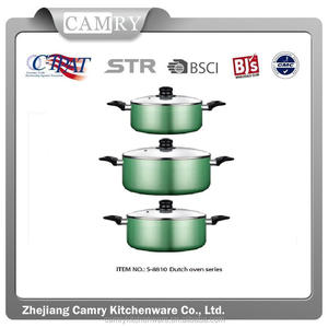 6pcs non-stick aluminum cooking pot set with glass lid