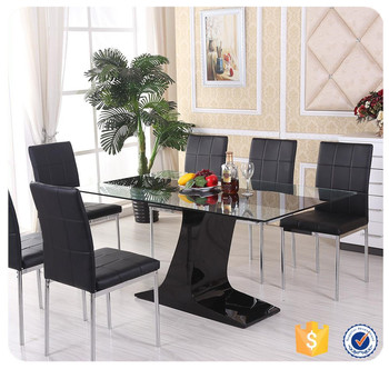 cheap modern metal glass dining table dining set