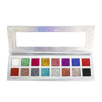 Glitter Eyeshadow Palette 16 Colors Highly Pigmented Shimmer Eye Shadow Palette Blendable Long Lasting Waterproof Cosmetics