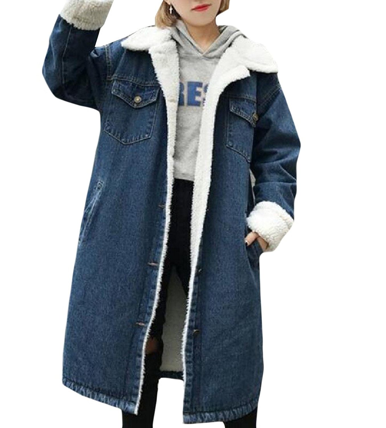 Coolred-Women Fur Collar Warm Mid-long Thick Button Down Jean Jacket
