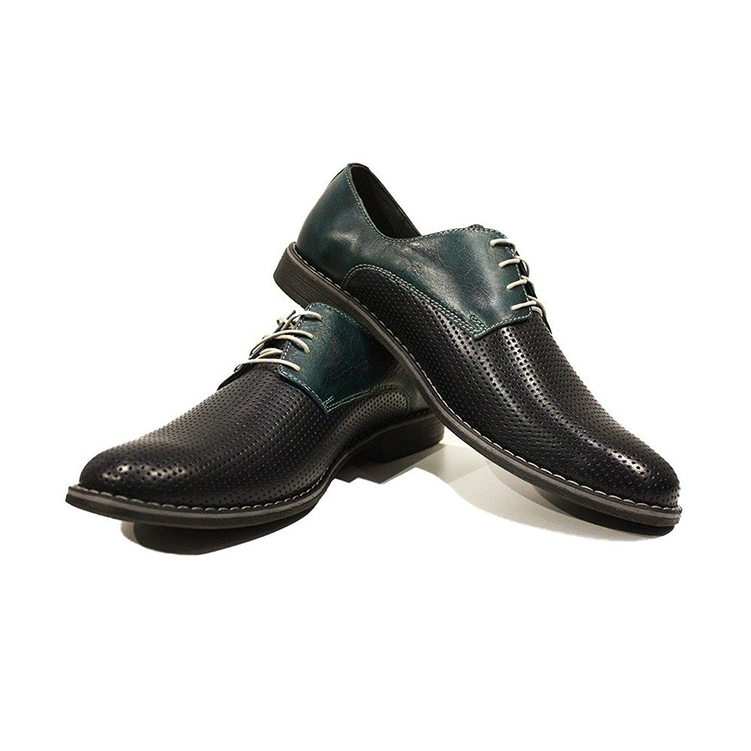 Modello Pancrazio - Handmade Italian Mens Black Oxfords Dress Shoes - Cowhide Embossed Leather - Lace-up