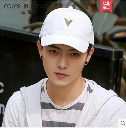 Men Fake Leather Black White Baseball Hat Sports <strong>Cap</strong> with Metal Decoration