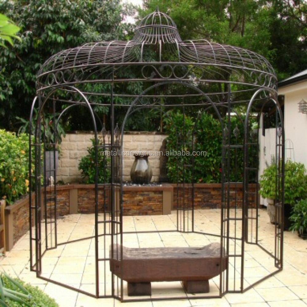 Outdoor garden furniture solid round gazebo wrought iron pavilion