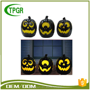 China Wholesale halloween ornament handmade resin material pumpkin led light