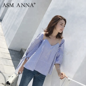 ASM ANNA summer design custom fashion blouse women clothes loose casual long sleeve shirt lady lace blouse