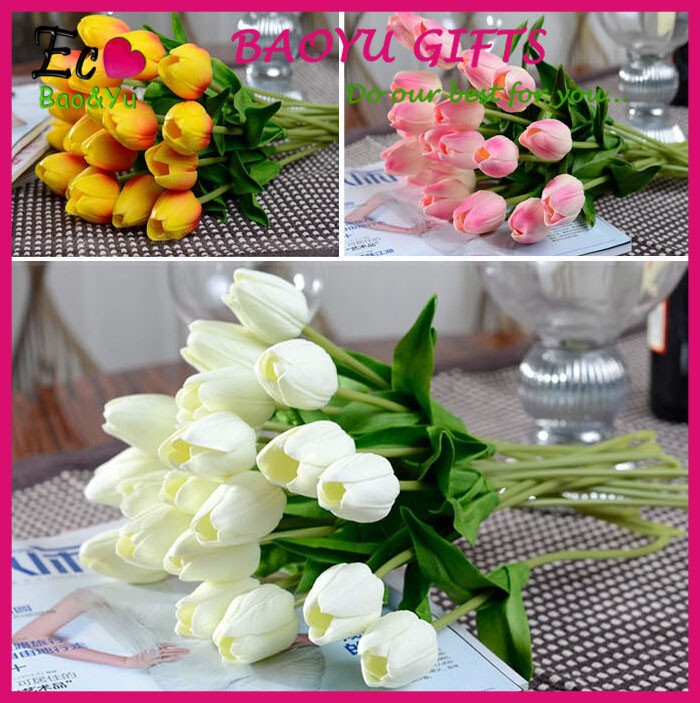 Cheap PU tulip artificial flower decorate artificial flower wholesale