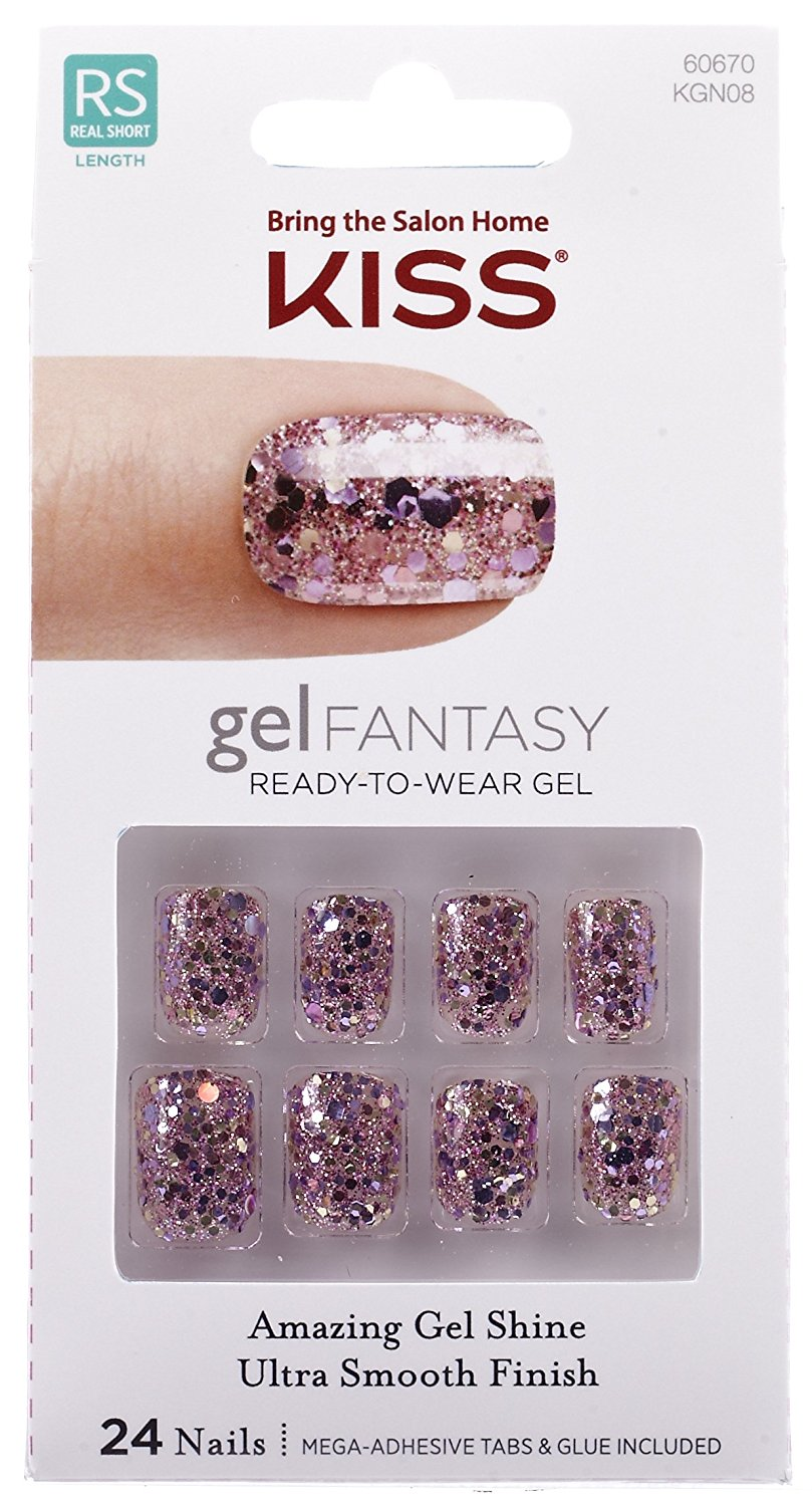"**NEW 2016** Kiss Nails GEL FANTASY ""KGN08"" (FAUX REAL) Short Design Nails w/Adhesive Tabs & Glue"