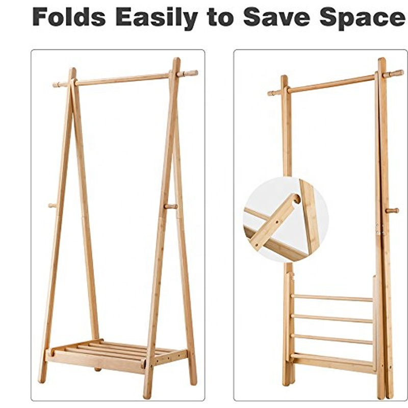 Foldable-Bamboo-Clothes-Laundry-Rack-With-4
