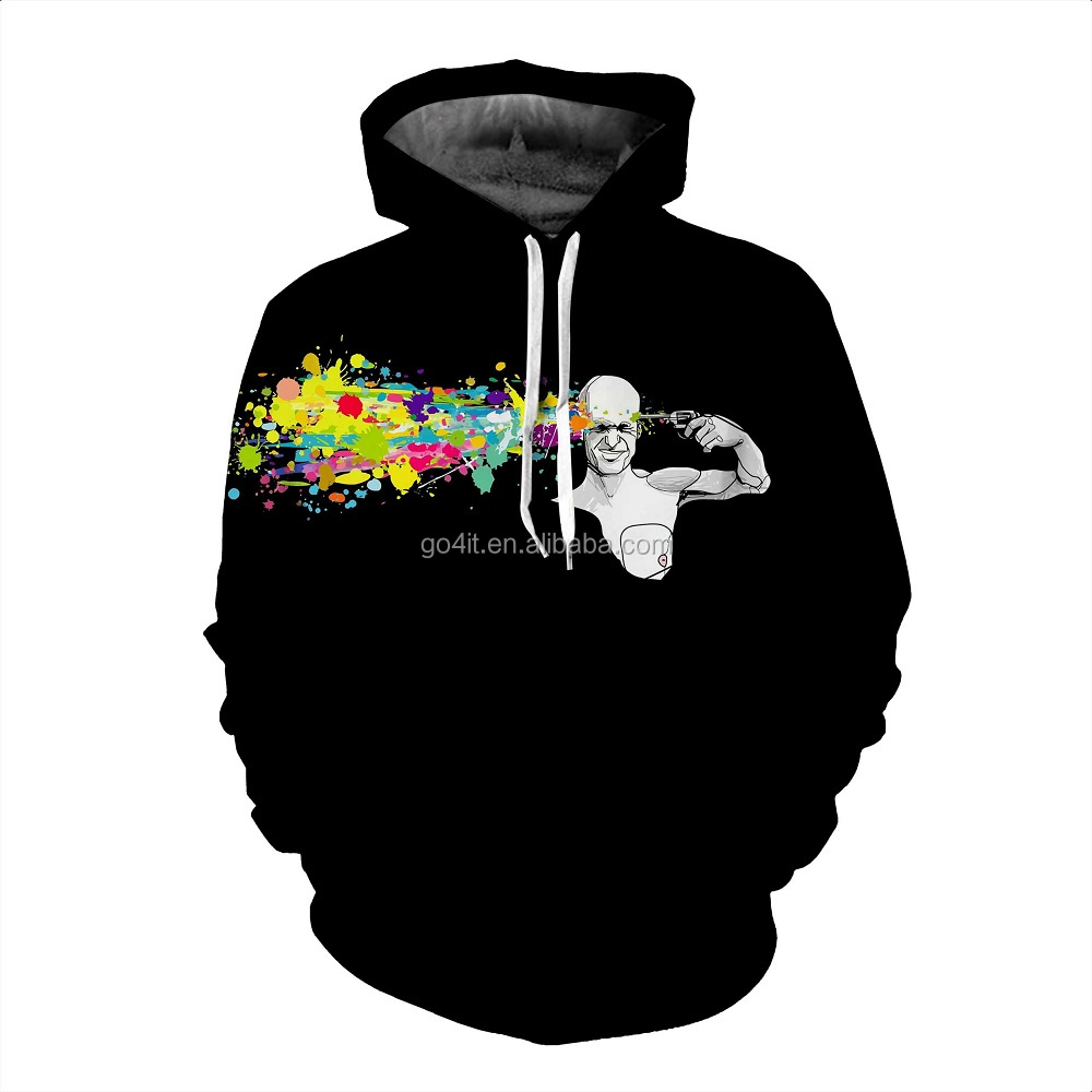 wholesale men's black 3d hoodie printing with a man who is shotting
