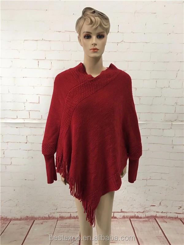 8bf1fc644e Dames pur cachemire tricot élégant pull poncho avec manches longues couleur  unie pull col roulé