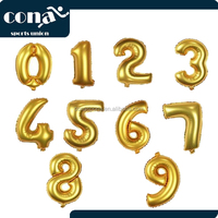 2017 New Fashion Gold Number 9 Balloon Birthday Party Decorations Helium Foil Mylar Number Balloon
