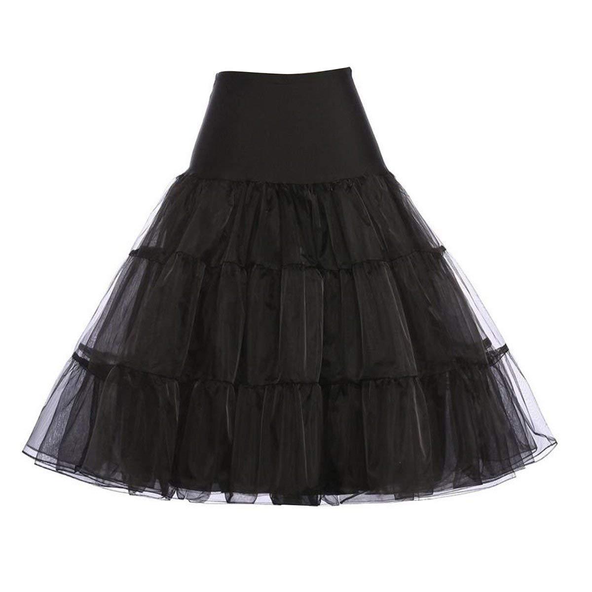 OULII Women's 50s Petticoat Underskirt Tutu Crinoline Skirts Ballerina Skirt Dress Size M (Black)
