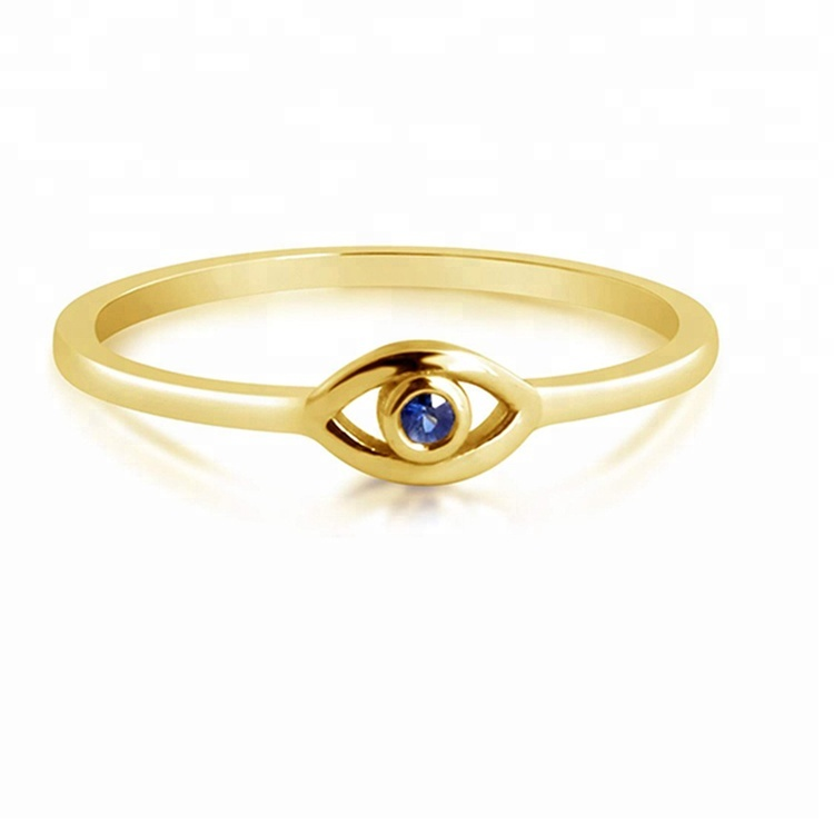 Evil Eyes Shape Finger Gold Plated Jewelry Zirconia 925 Silver Latest Gold <strong>Ring</strong> Designs For Girls