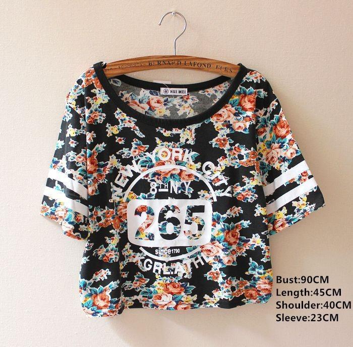 14 женщины лето tshirt хлопок короткий рукав винтажный цветок принт T рубашка номер одежда камуфляж Harajuku милый топы
