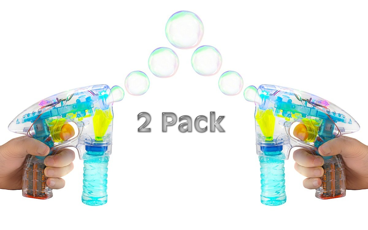 2 Pack Light Up LED Transparent Bubble Gun Blaster Toy - Light Up LED, Transparent, & Battery Operated - For Kids, Boys, Girls, Playing, Outdoors, Indoors, Gifts, & Party Favors – Kidsco
