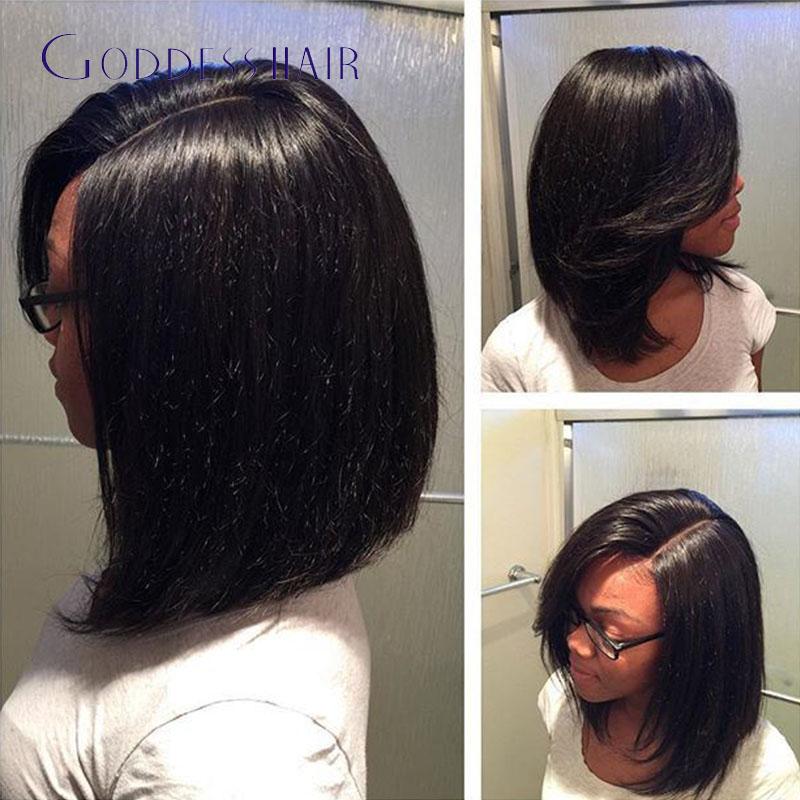 Beautiful Brazilian Hair Wigs Full Lace Side Part Bob Lace