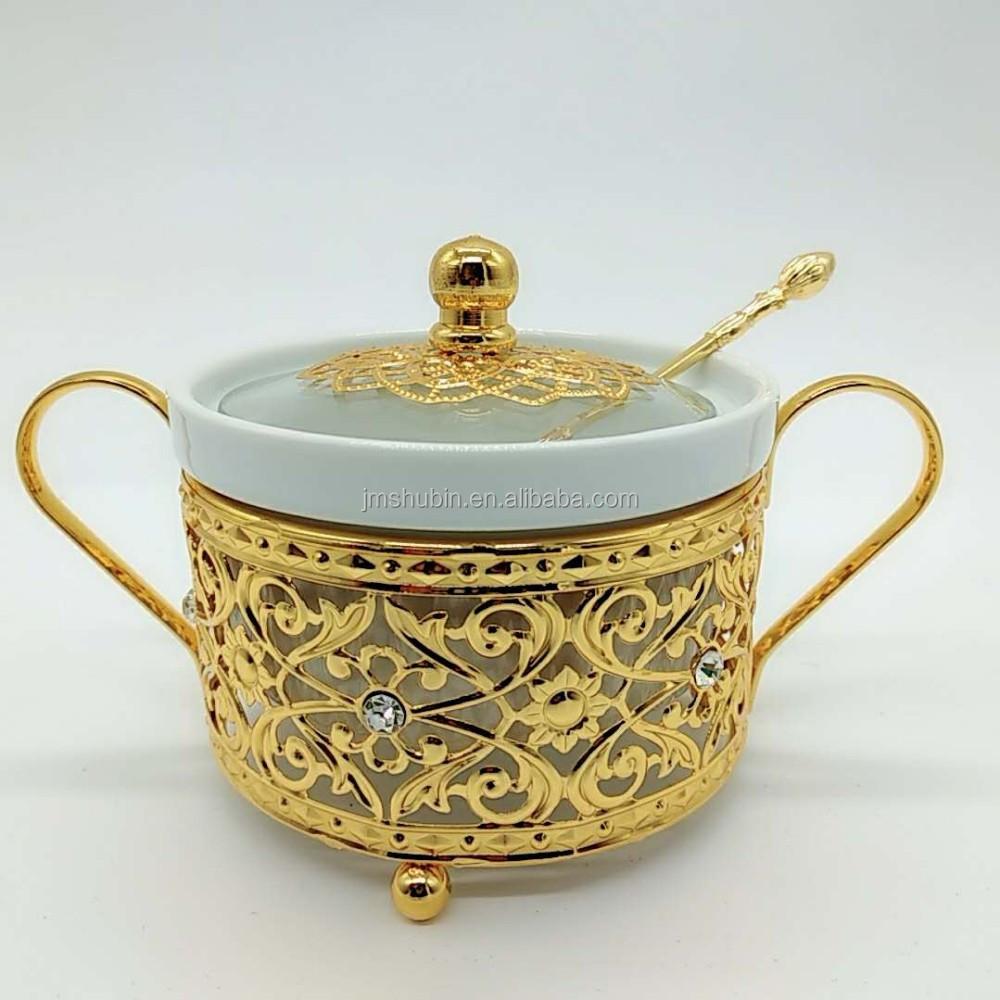 Cocina contenedor redondo de metal tapa de vidrio cerámica azúcar especias tarro con cuchara y cubierta de tiendas y de decoración de lujo