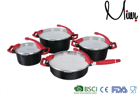 8pcs Ceramic coating Black cookware smart cook products