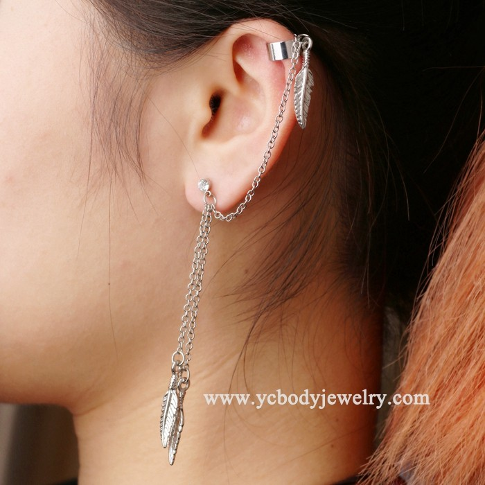 Wholesale Fashion Design 316L Stainless Steel Leaf Chain Earring Stud Piercing Jewelry