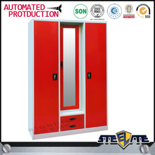 Competitive price steel dressing cupboard glass door almirah 3 door red wardrobe with mirror
