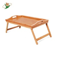 Wholesale Customized Foldable Breakfast Food Bamboo Bed Serving Tray With Folding Legs