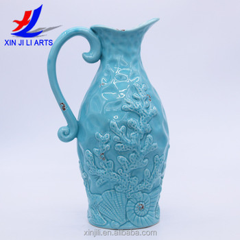 Ocean Blue Ceramic Vintage Style French Country Water Pitcher Flower