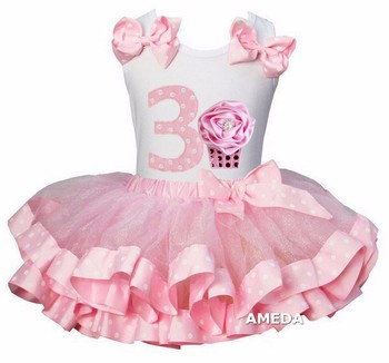 Girls Light Pink Pollka Dots Satin Trimmed Tutu with 3rd Rosette Cupcake White Tank Top