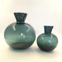 Teal Blue Glass Flower Floral Round Ball Bud Vase