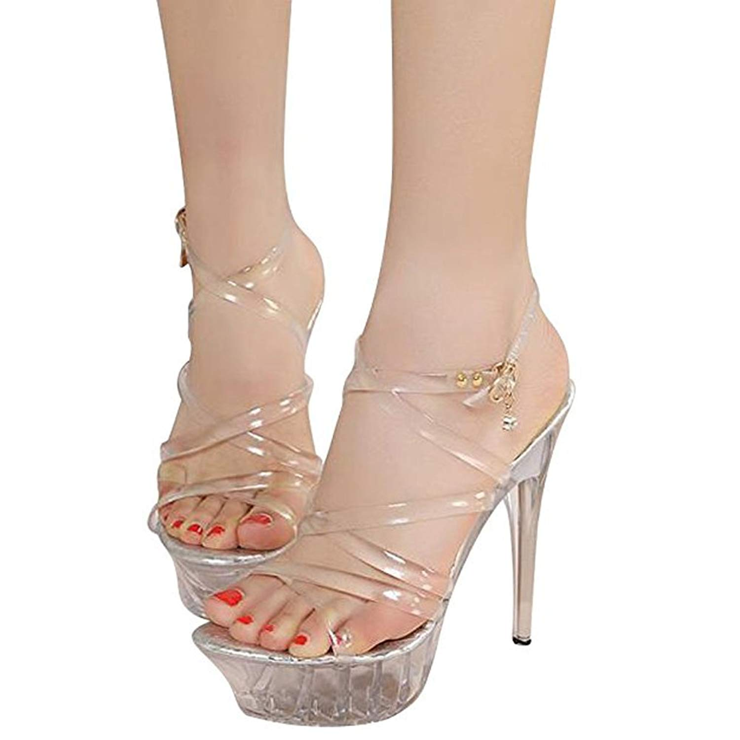 7f166e83e2e274 Get Quotations · Women s Cross Strappy Transparent Platform Stiletto High  Heels Dress Sandals