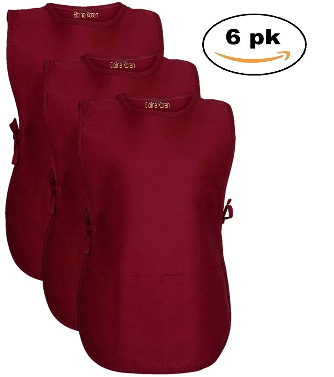 Elaine Karen Men's Women's Unisex Cobbler Chef Apron Art Smock with 2 Pockets, 6Pk - X Large - BURGUNDY