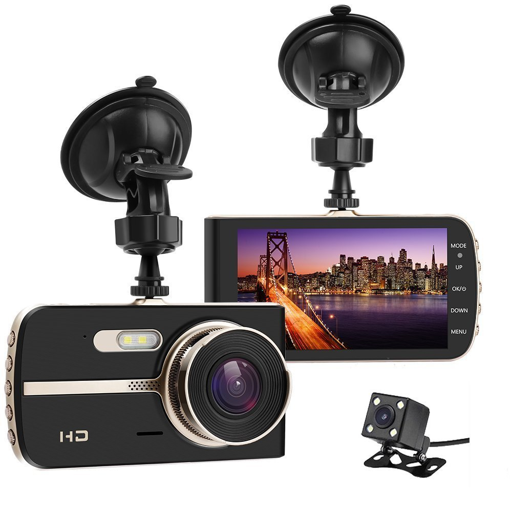Aluck Dash Cam for Cars Front and Rear Dual Lens Full HD 1080P Dash Camera with Night Vision 170 Wide Angle Car Cameras 4 inch Dashboard Video Recorder,Loop Recording,Parking Mode,G-Sensor