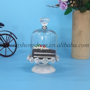 small wedding cake stand with hanging crystals