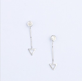 Triangle inlaid earrings Fashionable silver stud earrings