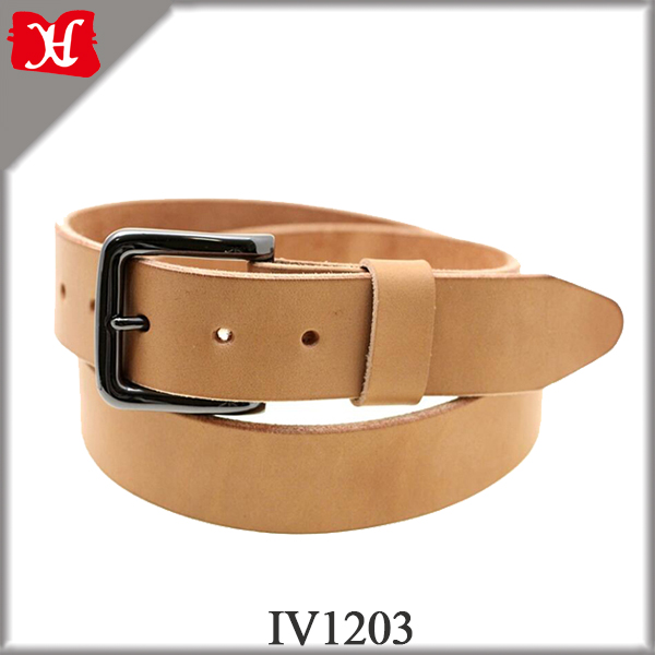 Hand Crafted 3.8CM Wide Automatic Buckle Vegetable Tanned Men Wide Leather Belt