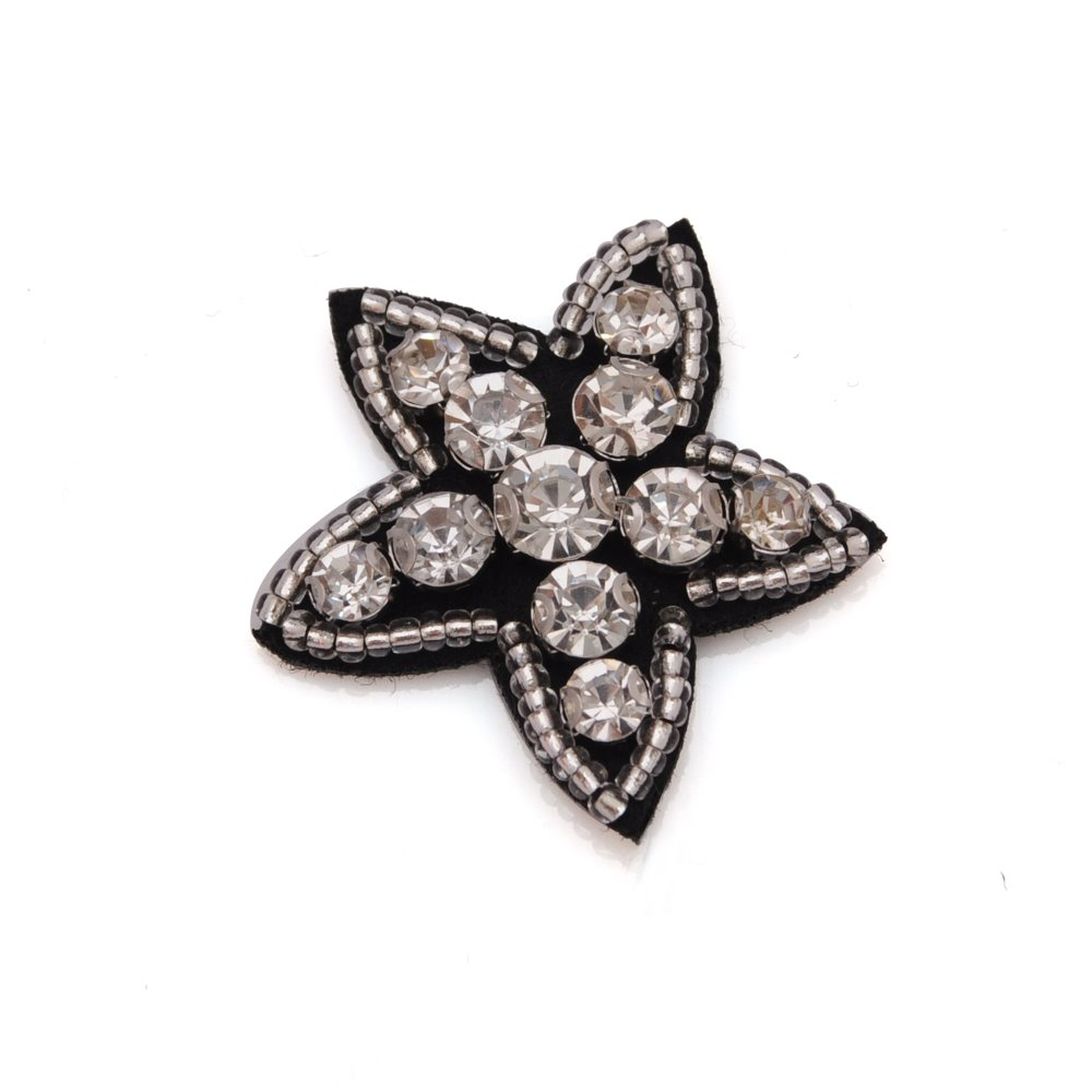 2017 hot sales embroidery star shape mini patches with beads for garment