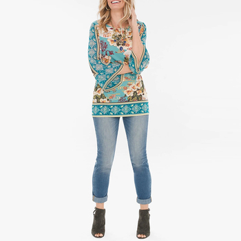 Wholesale Lady 2019 Fashion Women Casual Tops Floral Kimono-sleeve Top