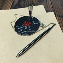 metal table pen and pen holder base with chain for bank and counter customized logo