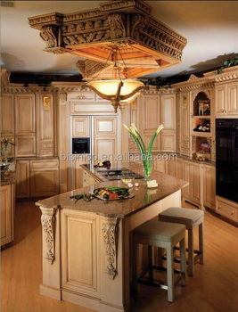 Hot Sale European Style Solid Wood Hand Carved Kitchen Cabinet