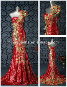 Bling bling One-Shoulder Red Sequins Mermaid Formal Evening Dress Peacock Pattern Embroidery Beautiful Bridal Gowns NB067