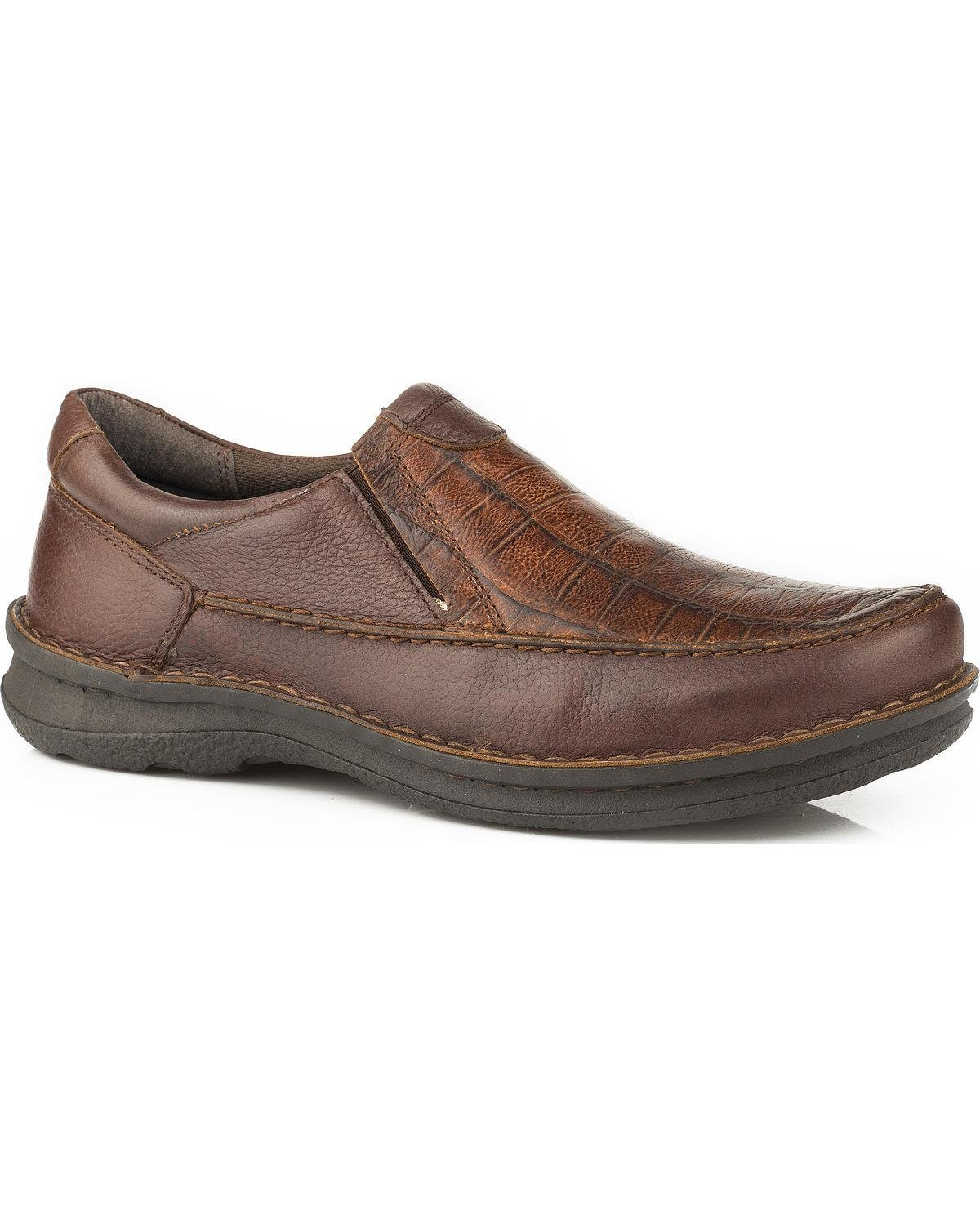Roper Paxton Mens Brown Leather Slip-On Shoes