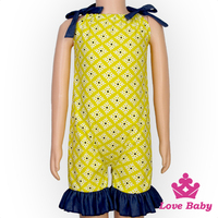 Fashion Yellow Halter Unisex Summer Ruffle Baby Grows Bodysuit Jumpsuit Clothing