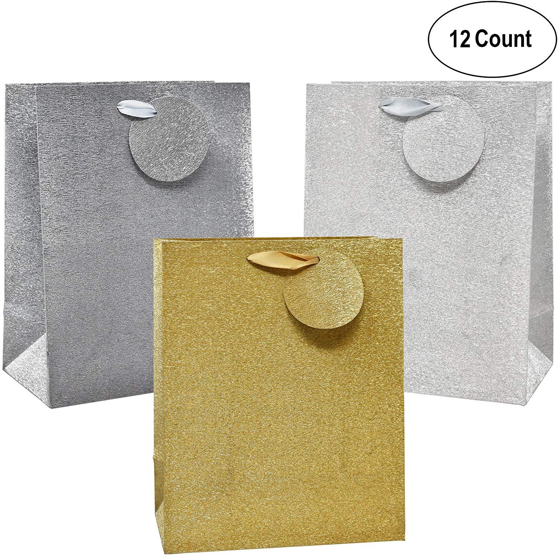 100 Gold Metallic Paper Carrier//Gift Bags 21cm18cm7.5cm