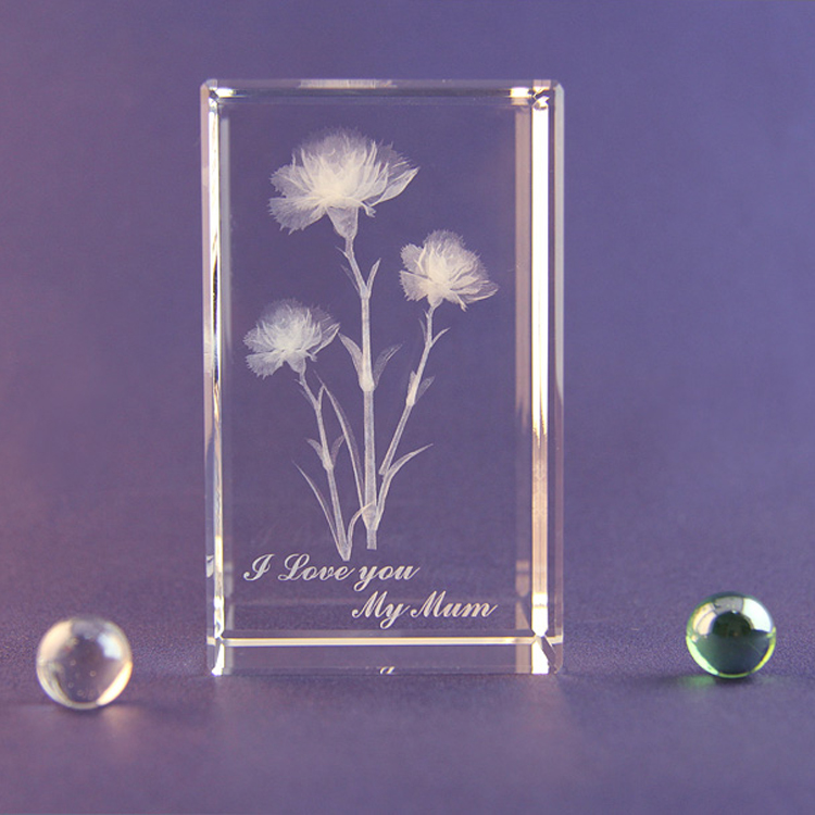Creative Valentine's gift carnations flower 3D laser engraving crystal